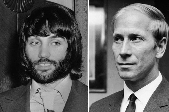 George Best and Bobby Charlton 1964-1965: The sixth title. After an horrific plane crash in Munich in 1958, manager Matt Busby rebuilds his team, pairing survivor Bobby Charlton (right) with striker George Best, who both went on to play for their national sides.  Cr. <warp>www.bbc.co.uk/newsround/22264796</warp>