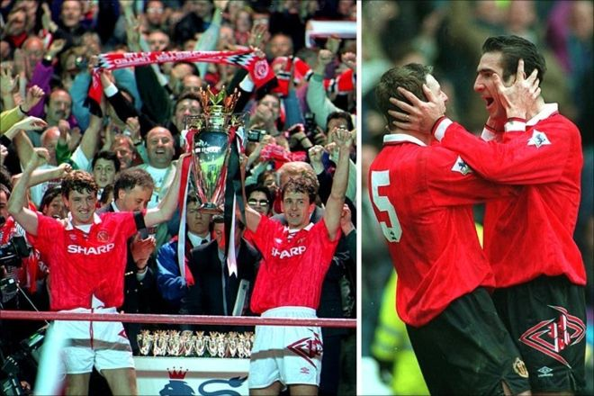 1992-1993: The eighth title. Sir Alex Ferguson took over as manager from Matt Busby, and six years into his reign leads the side to their 8th league win, and the first win under the newly-formed Premier League. French striker Eric Cantona was a key player at this time ending the club's 26-year gap without lifting the trophy.  Cr. <warp>www.bbc.co.uk/newsround/22264796</warp>
