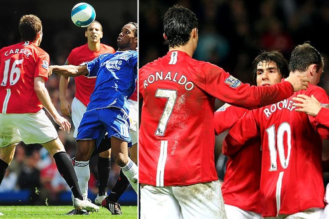 2007-2008: The 17th title. With midfielder Michael Carrick in rich form, United's attacking trio of Ronaldo, Rooney and Argentine striker Carlos Tevez proves irresistible as they overcome closest rivals Chelsea in the Premier League and the European League.  Cr. <warp>www.bbc.co.uk/newsround/22264796</warp>