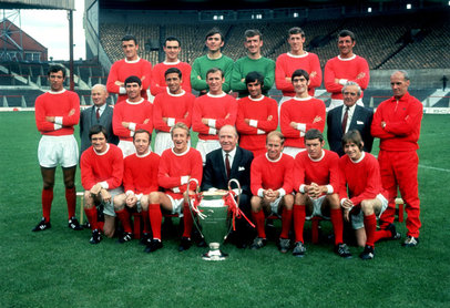 Manchester United with the European Cup at Old Trafford, Manchester, July 1968.