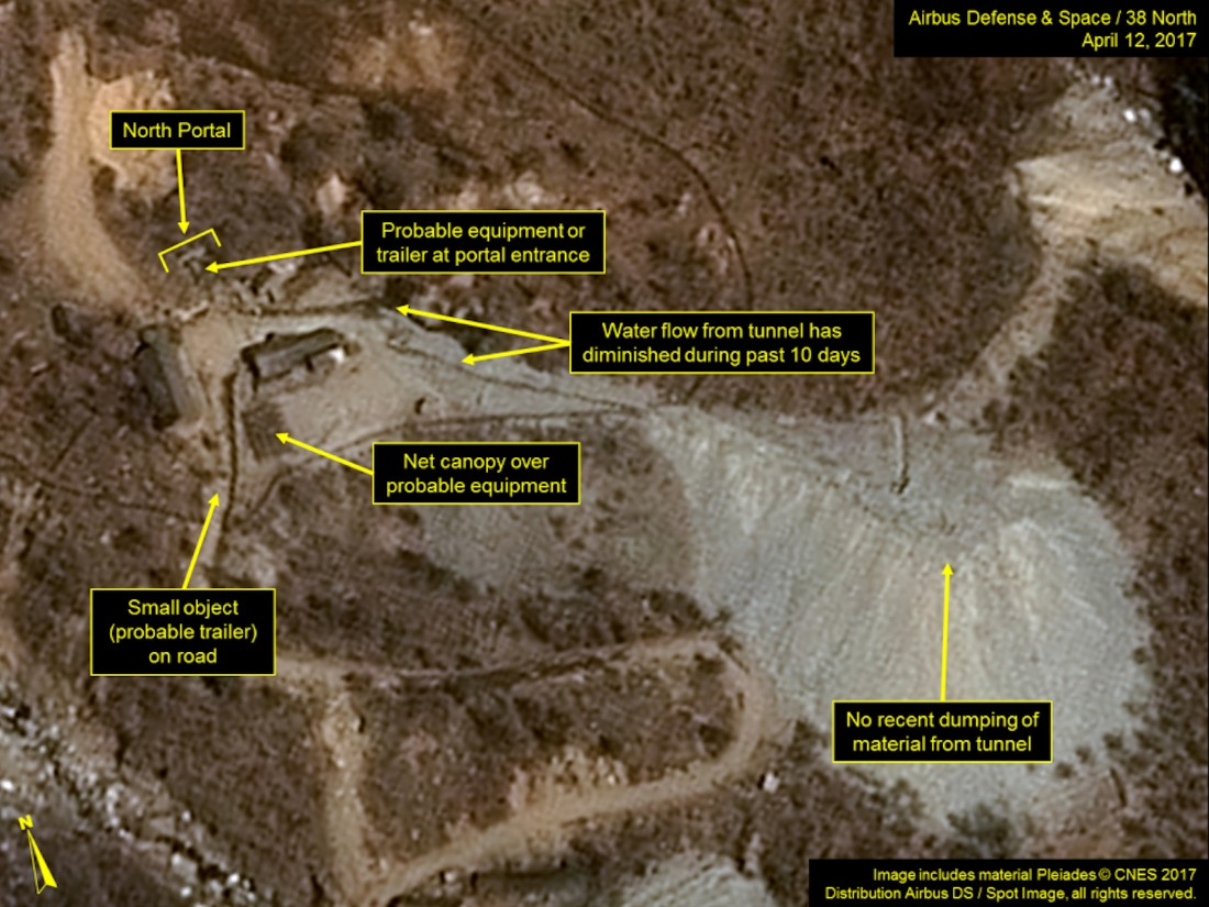 Satellite imagery shows vehicles or trailers parked around the North Portal of the Punggye-ri Nuclear Test Site in North Korea.