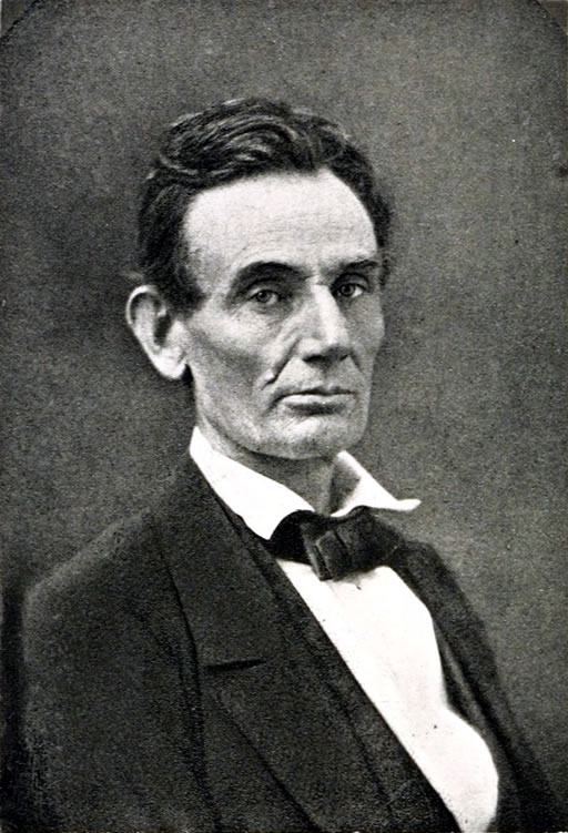 Photogravure printing (1891) of a portrait photograph of Abraham Lincoln taken in 1860, before he became the US president in 1861.