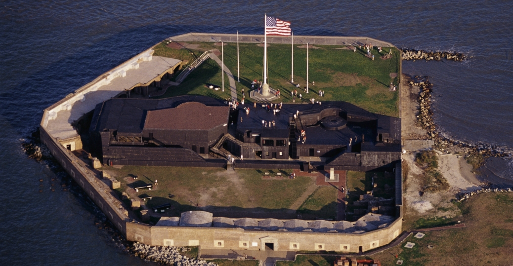 Located in the harbor of Charleston, South Carolina, Fort Sumter was the site of the first engagement of the Civil War on April 12, 1861.  Cr. <warp>www.history.com/topics/american-civil-war/american-civil-war-history/pictures/fort-sumter/aerial-view-of-fort-sumter-2</warp>