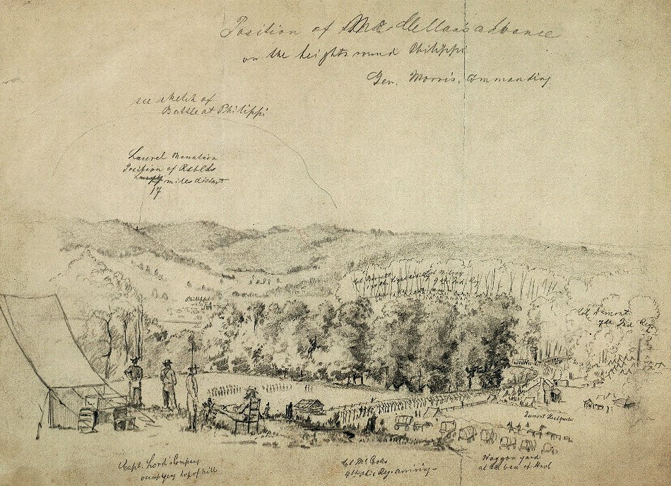 Position of McClellan's Advance on the Heights Round Philippi.  This contemporary soldier's sketch shows the disposition of some of Morris's troops just northwest of Philippi on the threshold of the battle.  Cr. <warp>en.wikipedia.org/wiki/File:PhilippiAdvance.jpg</warp>