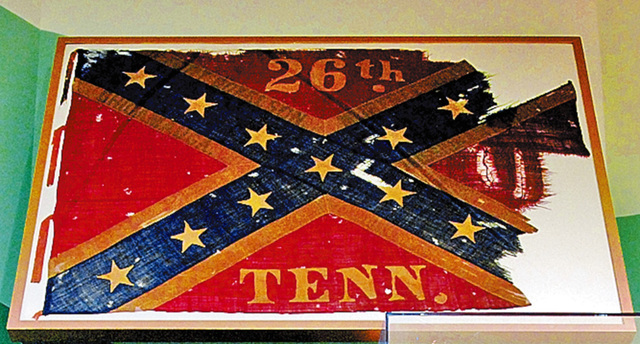 The War Torn Cross, the fourth battle flag of the 26th Tennessee Infantry.