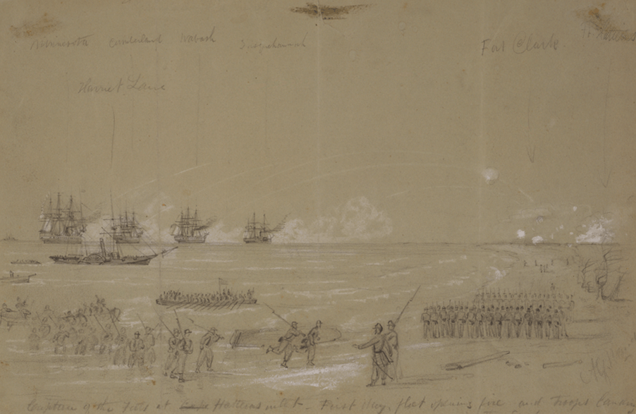 Capture of the Forts at Cape Hatteras inlet Alfred R. Waud, artist, August 28, 1861.