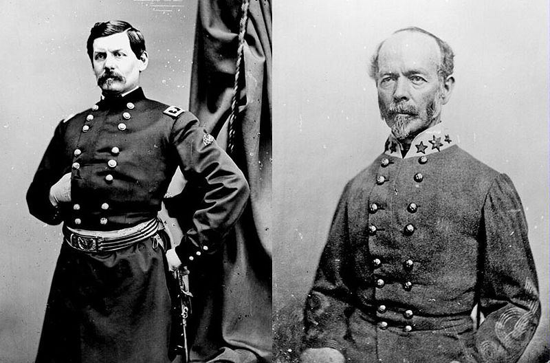 George B. McClellan and Joseph E. Johnston, respective commanders of the Union and Confederate armies in the Peninsula Campaign.