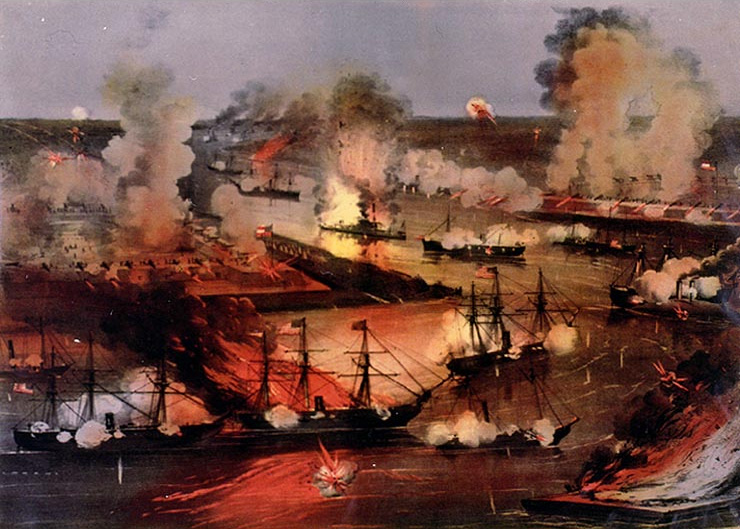 Attack of the Union fleet, April 24, 1862; Fort Jackson at left and Fort St. Philip is shown at right