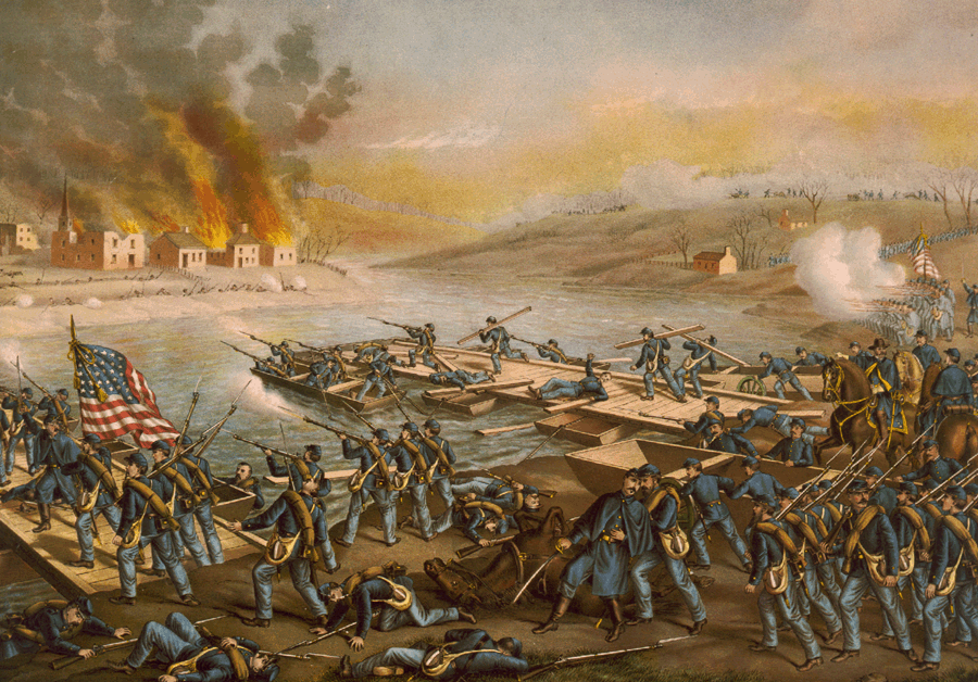 Battle of Fredericksburg: the Army of the Potomac crossing the Rappahannock River in the morning of December 13, 1862, by Kurz and Allison (1888).