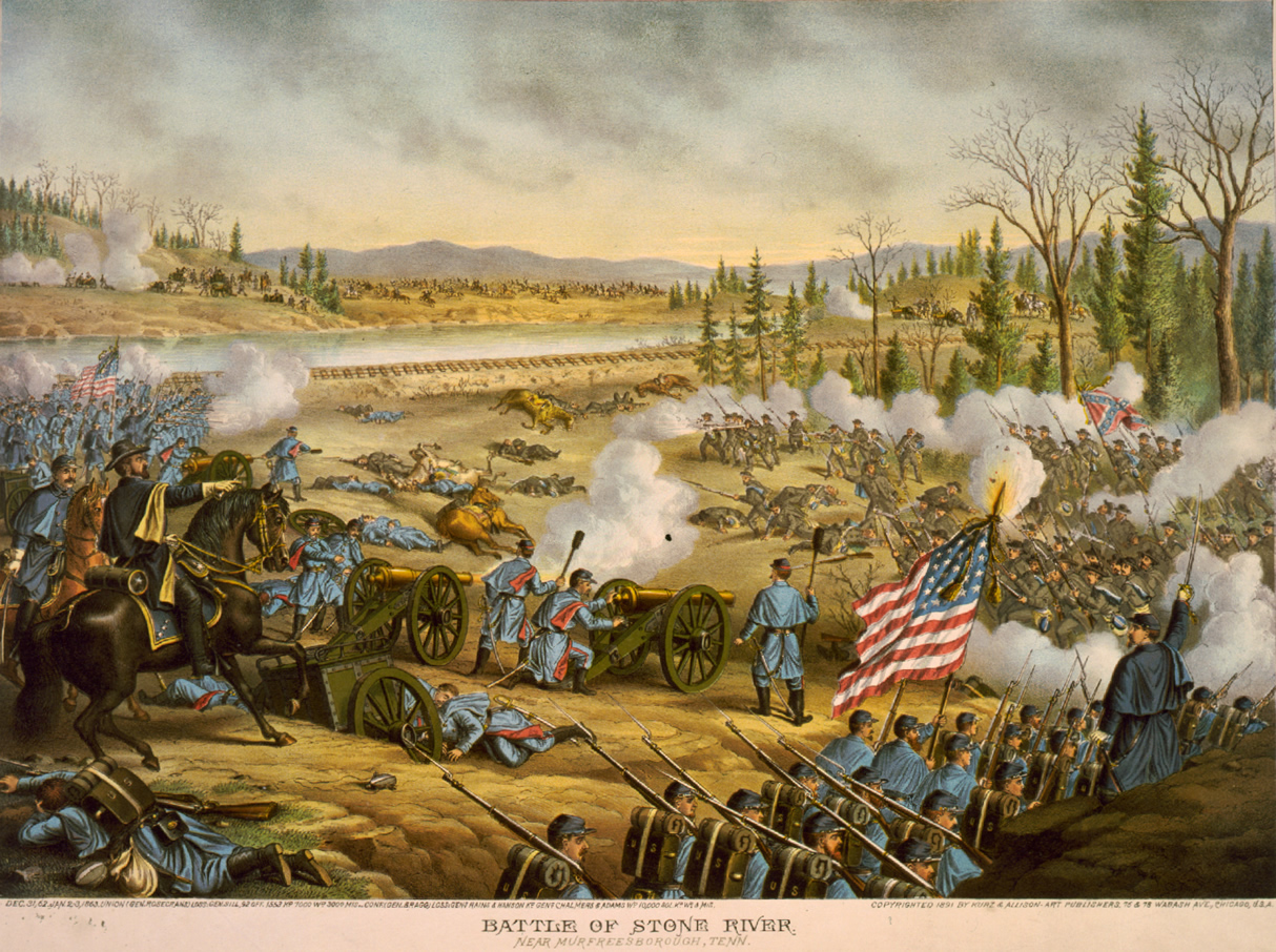 General William Rosecrans (left) rallies U.S. troops at Stones River in an 1891 illustration by Kurz and Allison