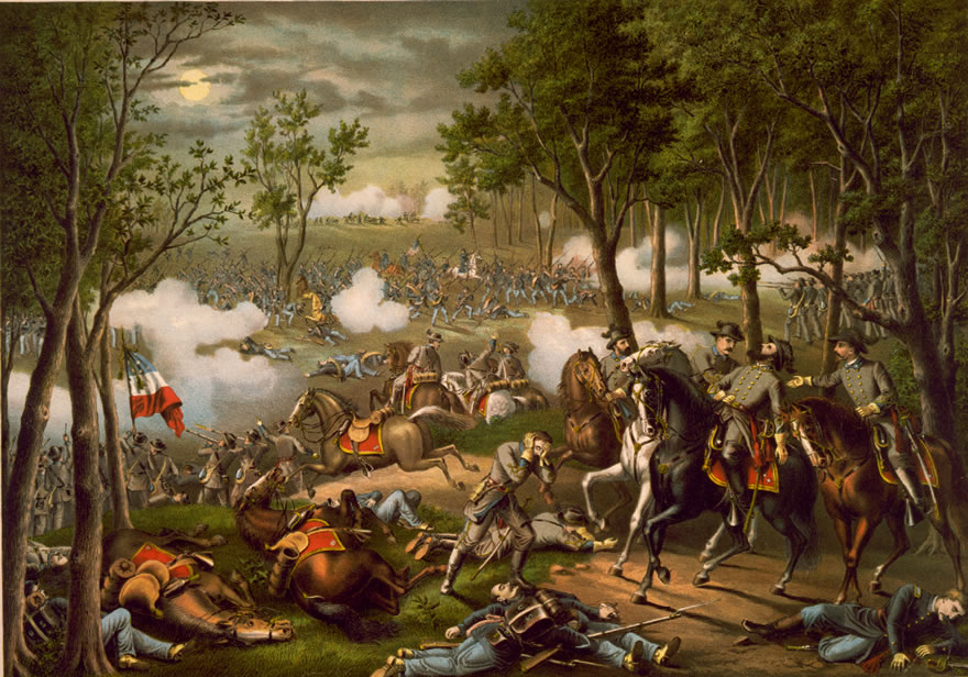 Battle of Chancellorsville, by Kurz and Allison, 1889 (Apocryphal painting depicts the wounding of Confederate Lt. Gen. Stonewall Jackson on May 2, 1863)