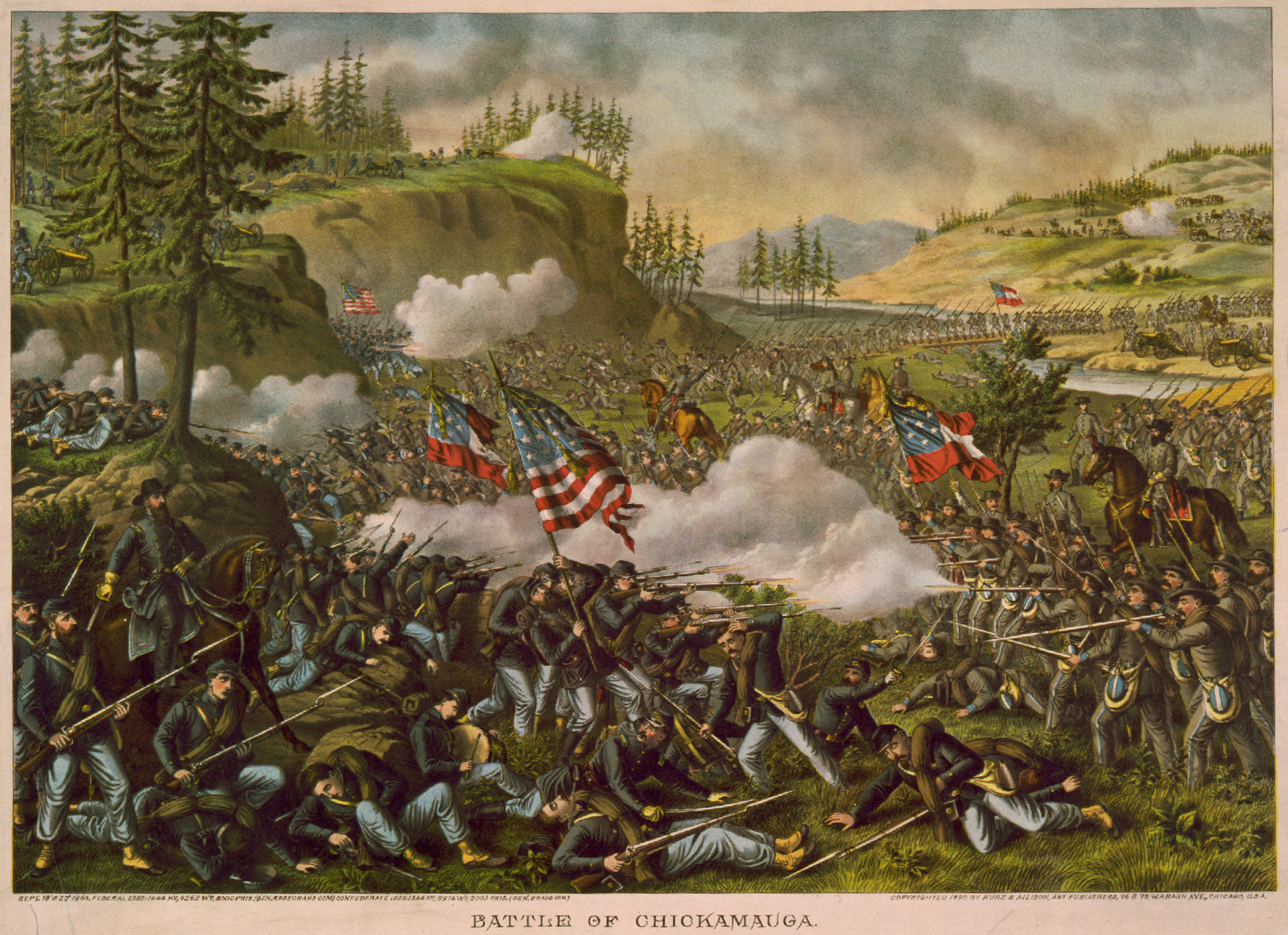 Battle of Chickamauga (lithograph by Kurz and Allison, 1890)