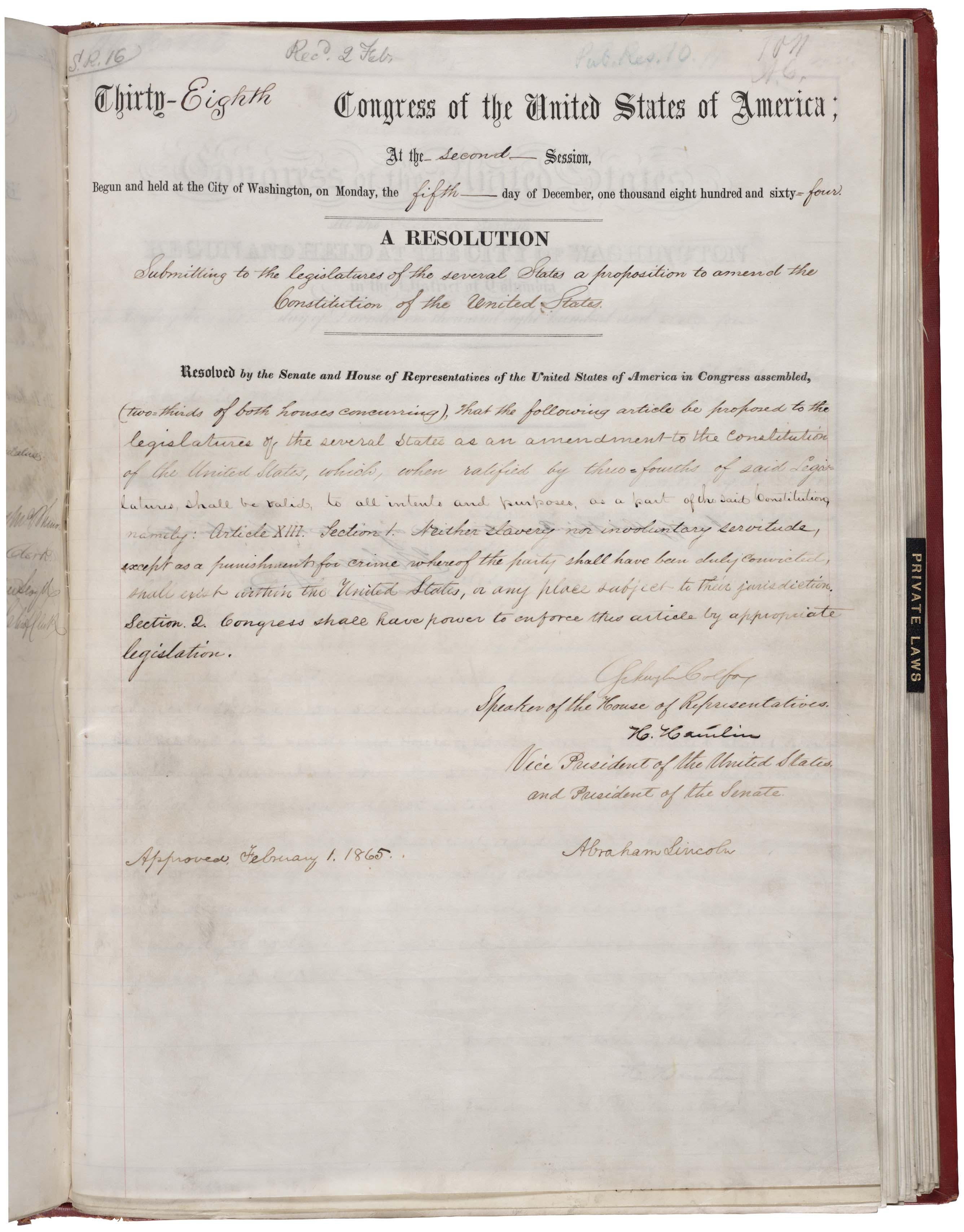 Amendment XIII in the National Archives, bearing the signature of Abraham Lincoln