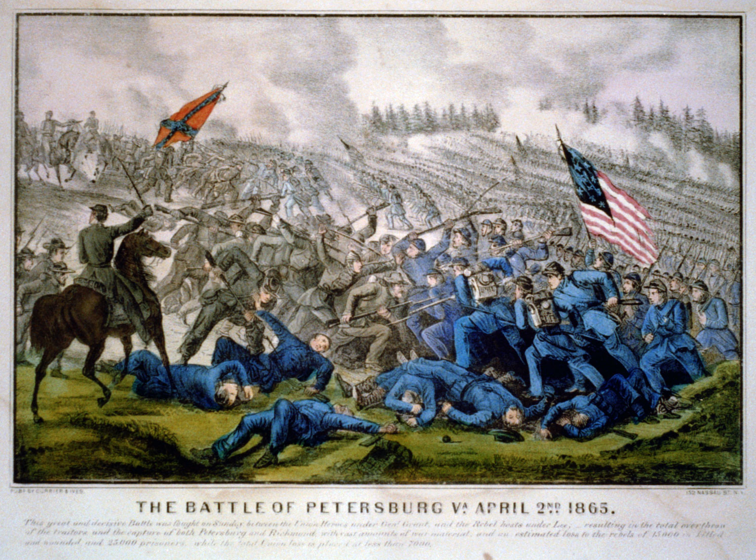 The battle of Petersburg Va. April 2nd 1865, lithograph by Currier and Ives