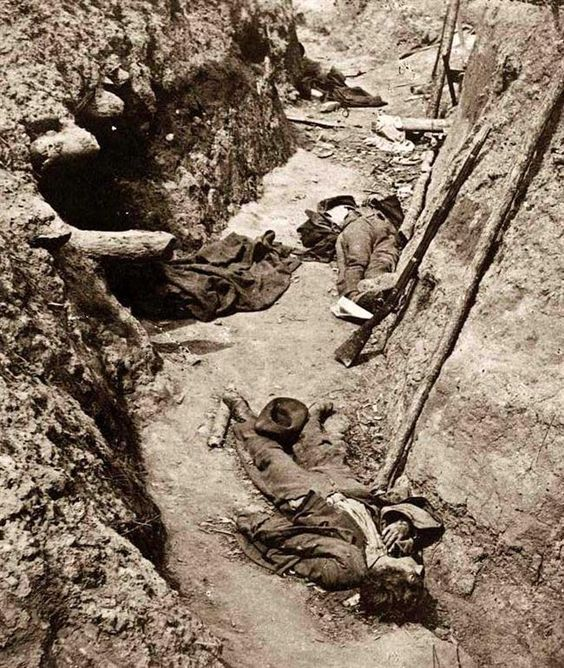 Dead Confederates in the trenches at Petersburg, Va., 1865.
