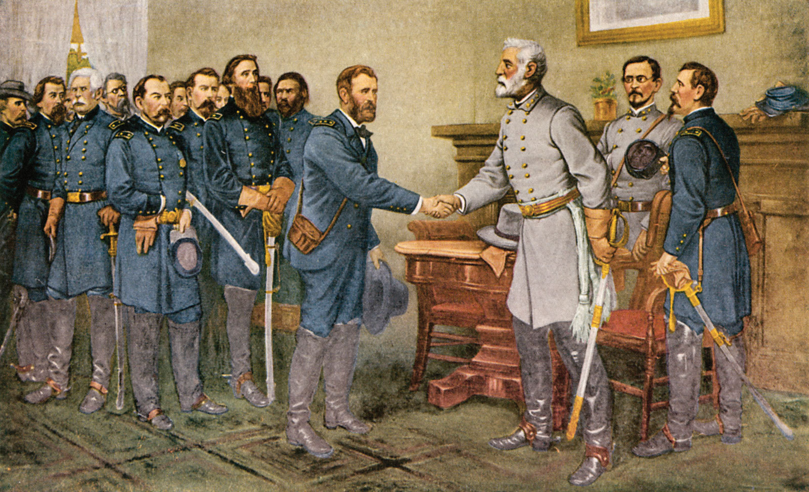 A print showing Union Army General-in-Chief Ulysses S. Grant accepting Confederate General-in-Chief Robert E. Lee's surrender on April 9th, 1865.